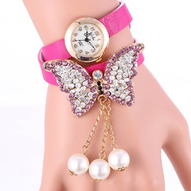 Shining Butterfly Decorated with Bead Tassels Women's Watch