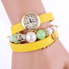 Multi-layer Beads Decorated Round Dial Women's Watch