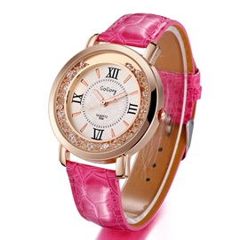 Round Dial Roman Numerals Decorated Women's Belt Watch