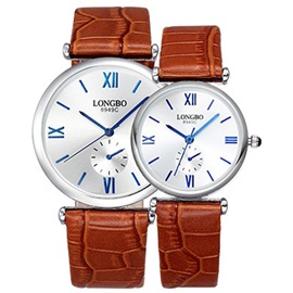 Genuine Leather Band Water Resistant Lovers' Watches ( Price for a Pair )