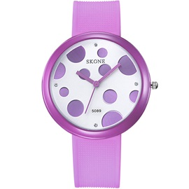 Simple Round Pu Band Women Watch