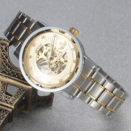 Stainless Steel Band Hollow Mechanical Watch