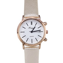 Round Dial with Letters PU Band Women Watch