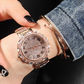 Shining Rhinestones Decorated Women's Quartz Watch