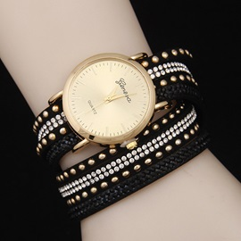 Double Layers Rivets Decorated Diamante Watch