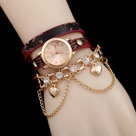 Bohemian Heart Pendant Women Bracelet Watch