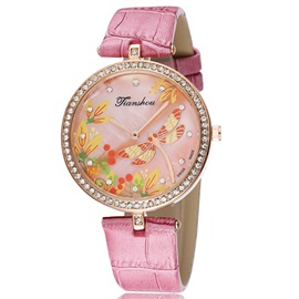 Round Dial with Dragonfly Pattern Women's Watch
