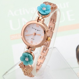 Lovely Flowers Decorated Band Alloy Watch