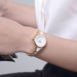 Round Dial Two-Tone Band Women's Watch