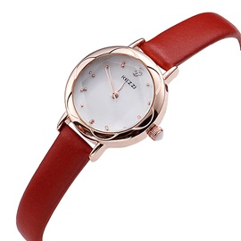 Leather Alloy Dial Ladies Watch