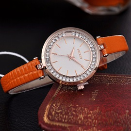 Thin PU Band Round Diamante Watch
