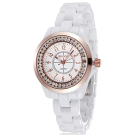Rose Gold Dial Women's Ceramics Watch
