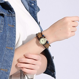 Multilayer Brown Leather Bracelet Watch