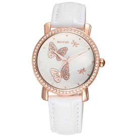Butterfly Pattern PU Women's Quartz Watch