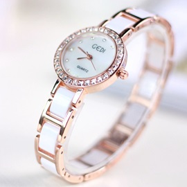 Fashion Ceramic Band Diamante Women's Watch