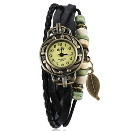 Black Leather Bracelet Watch with Leaf