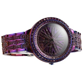 Purple Paillette Snowflake Pattern Imitation Diamond Steel Strip Quartz Women