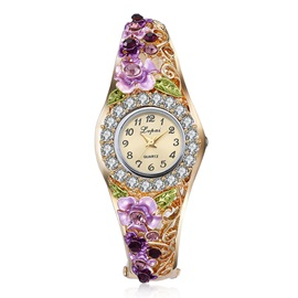 Purple Flower Design Analog Display Women's Golden Watch