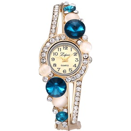 Glass Surface Alloy Round Diamante Women's Quartz Watch