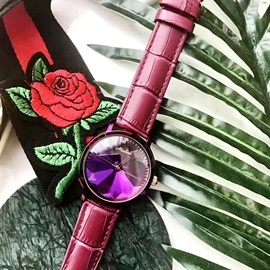 Mysterious Purple 3D Design Alloy Glass Quartz Watches