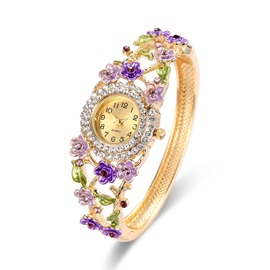 Colorful Flower Shaped Metal Crystal Stone Hollow Gold-Tone Bangle Watches