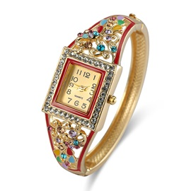Small Diamante Dial Colorful Flower Shaped Rhinestone Gold-Tone Polishing Metal Band Quartz Bangle Watches