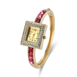 Rectangle Diamante Dial Ruby Shaped Stone Thin Alloy Band Quartz Bangle Watches