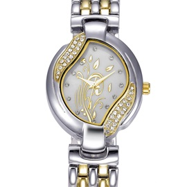 Leaf Shaped Dial Diamante Stainless Steel OL Style Women's Watches