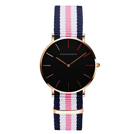 Stripe Color Nylon Wristlet Quartz Watch