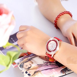 Full Drill with Beads Decorated PU Band Women Watch