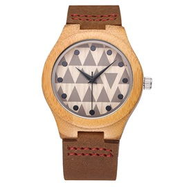 Natural Bamboo Case Geometric Pattern Surface Lovers' Watches