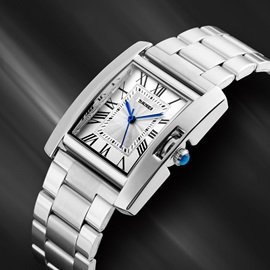 Business Style Silver Square Shape Dial Metal OL Watch