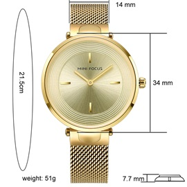 Concise Whorl Glass Surface Steel Braid Band Student Watch