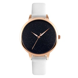 Shiny Smooth Glass Surface PU Pin Buckle Student Watch