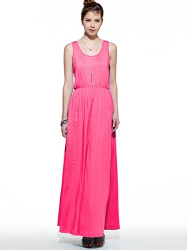Bohemian Pure Color Sleeveless Women's Maxi Dress