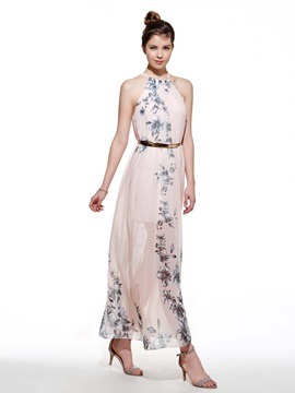 Pink Floral Print Sleeveless Women's Maxi Dress