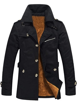 Lapel Single-Breasted Solid Color Medium Length Slim Men's Winter Coat