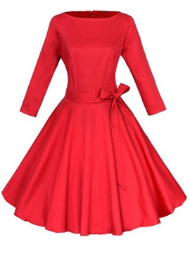 Solid Color Lace-Up Bowknot Long Sleeve Women's Skater Dress