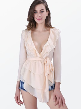 Stylish Double-Layer Ruffled Collar Blouse
