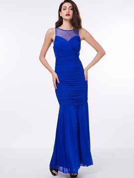 Straps Ruched Long Sheath Evening Dress & simple Trends