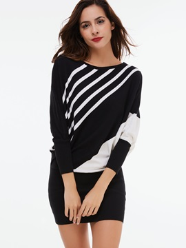 Vertical Striped Batwing Sleeve Sweater Dress