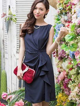 Chic Round Neck Sleeveless Short Day Dress