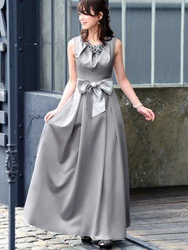 Solid Color Sleeveless Bow Knot  Dress