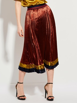 Mid-Calf Color Block Pleated Skirt