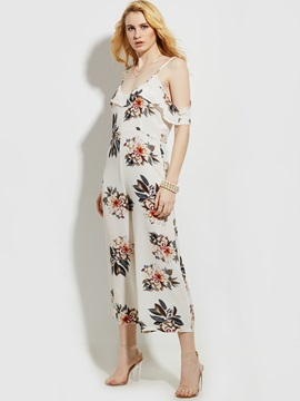 Print Patchwork Backless Wide Legs Jumpsuits