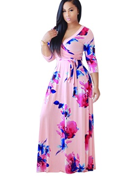Vogue Floral Imprint V Neck Women's Maxi Dress