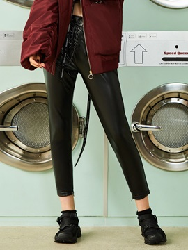 Skinny Lace-Up PU Ankle Length Plain Casual Pants