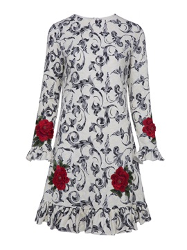 Color Block Floral Embroideried Women's A-Line Dress