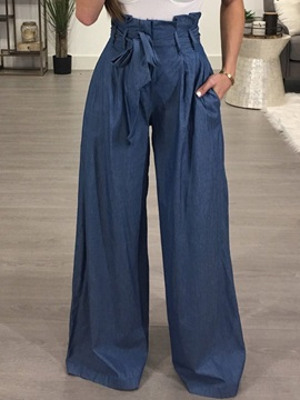 High-Waist Loose Wide Leg Lace-Up Women's Casual Pants