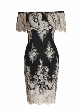 Slash Neck Floral Embroidery Lace Patchwork Women's Bodycon Dress